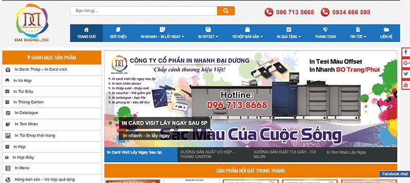 Web site Công ty Cổ phần In nhanh Đại Dương