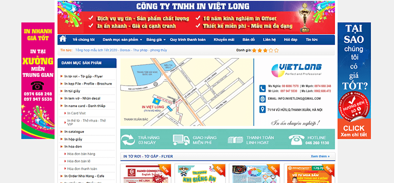 Website Công ty In Việt Long